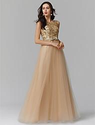 economico -Linea-A Con decorazione gioiello Lungo Tulle Brillante e glitterato Serata formale Vestito con Con applique / Fiocco (fiocchi) di TS Couture®