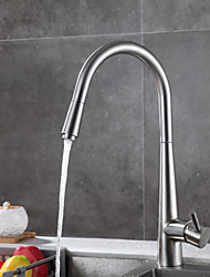 cheap -Kitchen faucet - Designed in China Brushed Steel Pull-out / ­Pull-down / Standard Spout Free Standing
