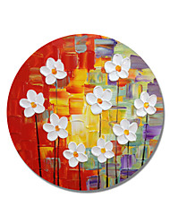 cheap -STYLEDECOR Modern Hand Painted Abstract Circular Frame The White Flowers on  Colorful Background Oil Painting