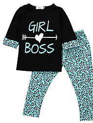 cheap -Baby Girls' Leopard Half Sleeve Clothing Set