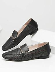 baratos -Mulheres Sapatos Pele de Carneiro Primavera Conforto Mocassins e Slip-Ons Salto Baixo Preto / Castanho Claro