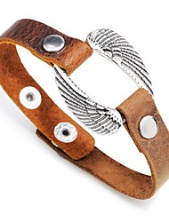 cheap -Women's Link / Chain Leather Bracelet - Leather Wings Stylish, Simple Bracelet Black / Brown For Party / Gift