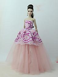 baratos -Vestidos Vestir Para Boneca Barbie Rosa claro Tule / Renda / Mistura de Seda / Algodão Vestido Para Menina de Boneca de Brinquedo