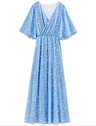 baratos -Mulheres Básico Chifon Vestido - Estampado, Geométrica Longo