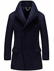 Недорогие -Муж. Длинная Пальто Воротник-стойка Однотонный, Шерсть / Длинный рукав