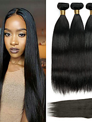 cheap -3 Bundles with Closure Malaysian Hair Straight Human Hair Hair Weft with Closure 8-22 inch Natural Color Human Hair Weaves 4x4 Closure Best Quality / Hot Sale / Lace Closure Human Hair Extensions