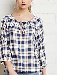 cheap -women's blouse - check round neck