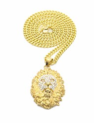 cheap -Men's AAA Cubic Zirconia Sculpture / Link / Chain Statement Necklace / Long Necklace - Stainless Lion Statement, Trendy, Hip-Hop Gold 70 cm Necklace 1pc For Carnival, Club