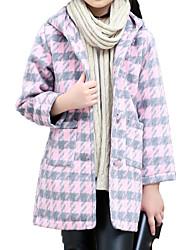 cheap -Kids Girls' Basic / Street chic Sports Houndstooth Print Long Sleeve Cotton Jacket & Coat