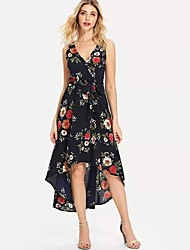 cheap -Women's Vintage / Elegant Swing Dress - Floral Rose, Lace up / Print