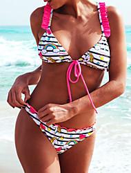 abordables -Femme Basique Sans Bretelles Bandeau Bikinis - Imprimé, Arc-en-ciel / Animal Slip Brésilien