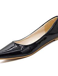 Недорогие -Жен. Обувь Лакированная кожа / Полиуретан Лето Удобная обувь На плокой подошве На плоской подошве Заостренный носок Черный / Красный / Розовый