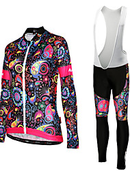 cheap -Women's Long Sleeve Cycling Jersey with Bib Tights - White / Black Floral / Botanical Bike Jersey / Bib Tights, Quick Dry