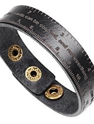 Недорогие -Муж. Одинарная цепочка Браслет цельное кольцо Кожаные браслеты Браслет - Кожа Буквы Классика, Мода Браслеты Бижутерия Черный / Кофейный / Коричневый Назначение Официальные Офис
