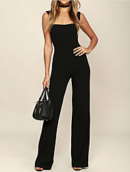 cheap -women's going out jumpsuit - solid colored wide leg strap