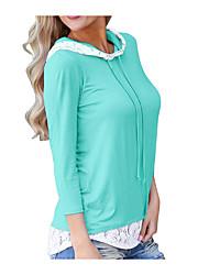 Недорогие -Жен. Кружева / Пэчворк Рубашка Классический Однотонный