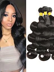 Недорогие -3 Связки Малазийские волосы Волнистый Натуральные волосы Человека ткет Волосы Удлинитель 8-28 дюймовый Черный Естественный цвет Ткет человеческих волос Новое поступление 100% девственница / 8A