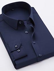 billige -Tynd Herre - Ensfarvet Bomuld Plusstørrelser Skjorte / Langærmet