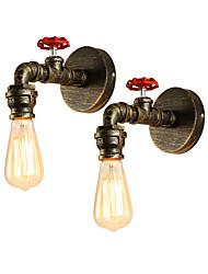baratos -2 pcs loft mini estilo industrial retro arandela restaurante e bar de metal da tubulação de água da lâmpada de parede pintado acabamento