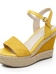 cheap -Women's Shoes Horse Hair Summer Comfort Sandals Wedge Heel Black / Yellow / Green