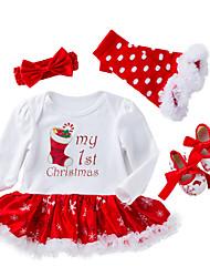 baratos -bebê Para Meninas Activo / Moda de Rua Natal / Feriado / Para Noite Estampado Com Transparência Manga Longa Padrão Padrão Algodão Conjunto Branco 59