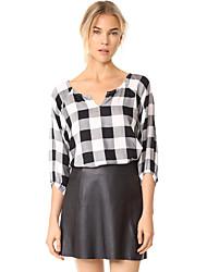 baratos -Mulheres Camisa Social - Para Noite Quadriculada Decote V