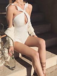 abordables -Femme Basique Encolure plongeante Bandeau Bikinis - Dos Nu, Couleur Pleine Tanga
