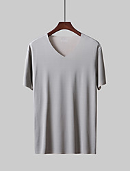 cheap -Men's Cotton / Linen T-shirt - Solid Colored Round Neck / Short Sleeve