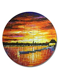cheap -STYLEDECOR Modern Hand Painted Abstract Circular Frame A Row of Boats in The Sunset Oil Painting on Canvas