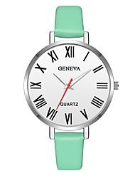abordables -Geneva Femme Montre Bracelet Chinois Design nouveau / Montre Décontractée / Cool Cuir Bande Décontracté / Mode Vert / Rose / Beige