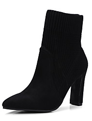 cheap -Women's Shoes Knit / Microfiber Fall & Winter Fashion Boots Boots Block Heel Pointed Toe Mid-Calf Boots Black