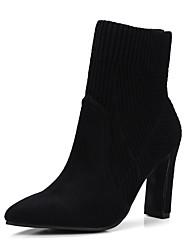 Недорогие -Жен. Обувь Трикотаж / Микроволокно Наступила зима Модная обувь Ботинки Блочная пятка Заостренный носок Сапоги до середины икры Черный