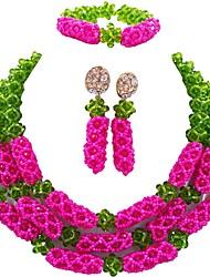 abordables -Mujer En Capas Conjunto de joyas - Cristal Austriaco Bola Moda Incluir Pendientes colgantes / Brazalete / Collares en capas Verde / Rosa Intenso / Champaña Para Fiesta