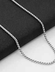 Недорогие -Муж. Ожерелья-цепочки Одинарная цепочка Бат-цепь Сеть моряков европейский Титановая сталь Серебряный 55 cm Ожерелье Бижутерия 1шт Назначение Повседневные