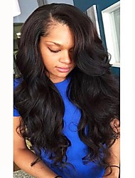 cheap -Remy Human Hair Full Lace Wig Brazilian Hair Wavy Wig Layered Haircut 130% Natural Hairline / For Black Women Black Women's Long Human Hair Lace Wig