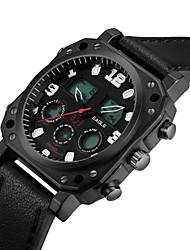 Недорогие -ASJ Муж. Спортивные часы Нарядные часы Японский Цифровой Натуральная кожа Материал ремешка Черный 100 m Защита от влаги Будильник Секундомер Аналого-цифровые Роскошь На каждый день - Черный