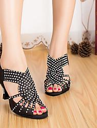 baratos -Mulheres Sapatos de Dança Latina Cetim Salto Salto Grosso Sapatos de Dança Preto