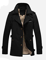 cheap -Men's Long Trench Coat - Contemporary Stand / Long Sleeve