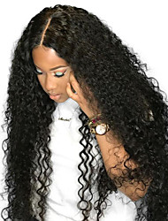 cheap -Remy Human Hair Full Lace Wig Brazilian Hair Curly Wig Side Part 250% Fashionable Design / Party / Women Natural Women's Mid Length Human Hair Lace Wig