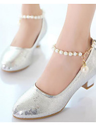 baratos -Para Meninas Sapatos Couro Ecológico Primavera & Outono Sapatos para Daminhas de Honra / Salto minúsculos para Adolescentes Saltos para Dourado / Prata / Rosa claro