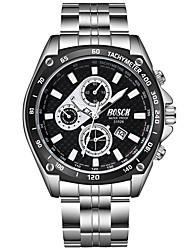 abordables -BOSCK Hombre Reloj de Pulsera Chino Calendario / Resistente al Agua / Nuevo diseño Acero Inoxidable Banda Moda Plata / Noctilucente