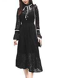 cheap -Women's Sophisticated Flare Sleeve Little Black / Swing Dress - Solid Colored Lace / Bow