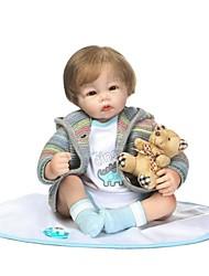 Недорогие -NPKCOLLECTION Куклы реборн Девочки 22 дюймовый как живой Ручные прикладные ресницы Гофрированные и запечатанные ногти Детские Девочки Игрушки Подарок / Искусственная имплантация Коричневые глаза