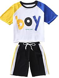 Недорогие -Дети (1-4 лет) Мальчики Контрастных цветов Рукав до локтя Набор одежды