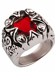 cheap -Men's Synthetic Sapphire / Synthetic Ruby Vintage Style / Solitaire Ring - Titanium Steel Head Stylish, Vintage, European 7 / 8 / 9 Blue / Dark Red For Gift / Street