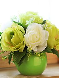 Недорогие -Искусственные Цветы 1 Филиал Классический / Односпальный комплект (Ш 150 x Д 200 см) Стиль Розы Букеты на стол