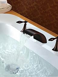 baratos -Torneira pia do banheiro - Cascata / Novo Design Bronze Polido a Óleo Difundido Duas alças de três furos