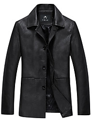 cheap -Men's Long Plus Size Leather Jacket - Solid Colored / Long Sleeve