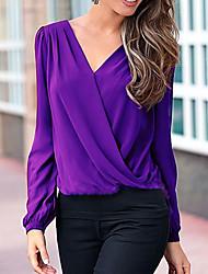 cheap -Women's Cotton Blouse - Solid Colored / Color Block V Neck