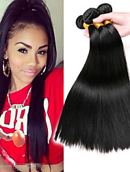cheap -3 Bundles Indian Hair Straight Human Hair Gifts / Headpiece / Extension 8-28 inch Human Hair Weaves Machine Made Best Quality / Hot Sale / For Black Women Black Natural Color Human Hair Extensions